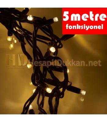 Beş metre yeşil kablo sarı yılbaşı ışığı R630