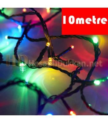 On metre yeşil kablo karışık renk yılbaşı pirinç ışığı R633
