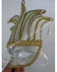 Zilli saçaklı beyaz simli parti maskeleri P860