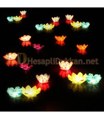 Lotus çiçeği şeklinde su feneri tealight mumlu