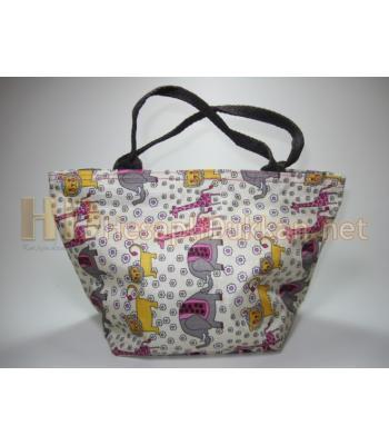 Astarlı kumaş el çantaları hayvan desenli R745