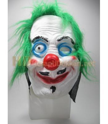 Tek gözlü bıyıklı palyaço korku maskesi R782