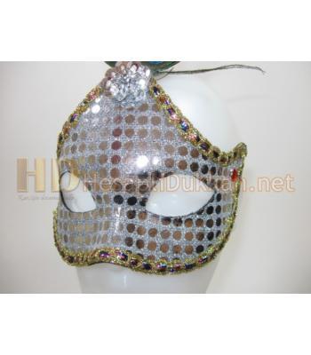Parlak pul işlemeli gerçek tavus tüylü maske R805