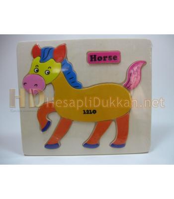 Eğitici oyuncak ahşap puzzle At figürlü R825