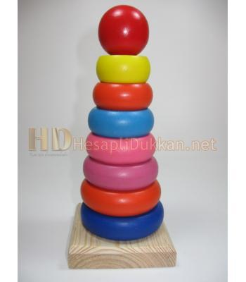 Ahşap Hanoi kulesi zeka oyuncağı R828