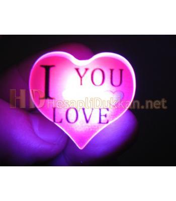 Kâlpli ışıklı i love you rozet
