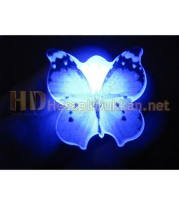 Kahve rengi ışıklı kelebek rozet