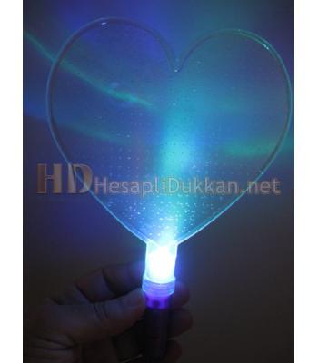 Işıklı kalp şeklinde yelpaze mor