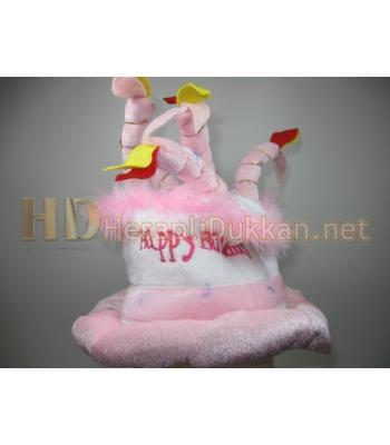 Happy birthday cake hat doğum günü pastası şapka pembe