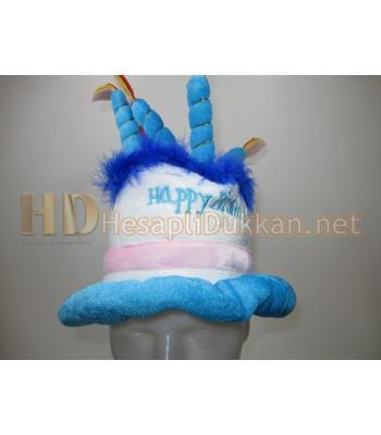 Happy birthday cake hat doğum günü pastası şapka mavi