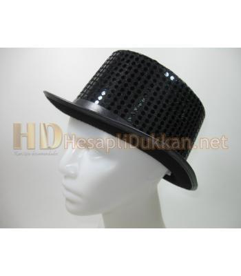 Siyah parlak pullu silindir şapka