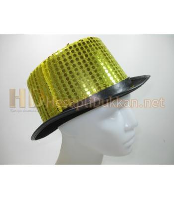 Sarı parlak pullu silindir parti şapkası