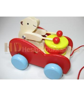 Davullu ipli araba ahşap oyuncak