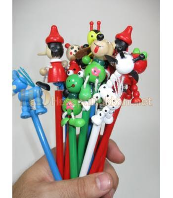 Renkli ahşap figürlü kalemler 12 li paket