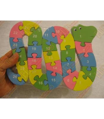 Sevimli yılan ahşap oyuncak yapboz R194