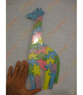Ahşap oyuncak yapboz Zürafa harfli ve rakamlı R195
