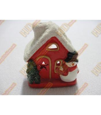 Kırmızı kardan adamlı ev şeklinde yılbaşı hediyeliği şamdan R250