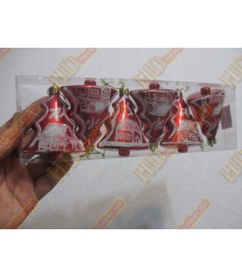 Altılı kırmızı minik yılbaşı ağacı süs paketi R253