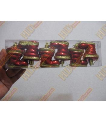 Sarı simli kırmızı çizme yılbaşı ağacı süs altılı paket R255