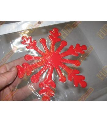 Noel cam sticker kar tanesi kırmızı R260