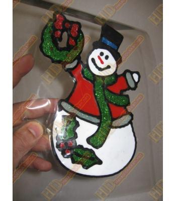 Kırmızı kazaklı kardan adam yılbaşı cam sticker R267