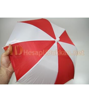 Kırmızı beyaz şapka şemsiye R447