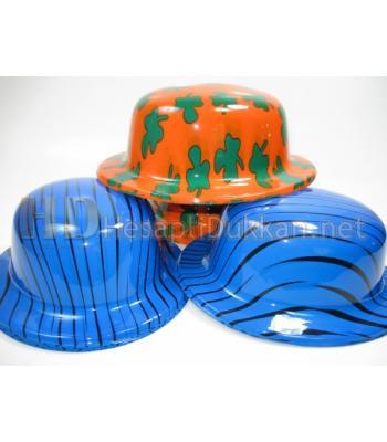Plastik renkli parti şapkaları R469