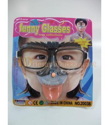 Kaşları ve dili oynayan kurmalı komik maske R529