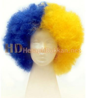 Sarı lacivert bonus peruk R542