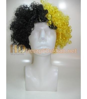 Sarı siyah bonus peruk R545