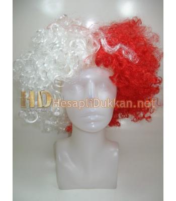Kırmızı beyaz bonus peruk R562