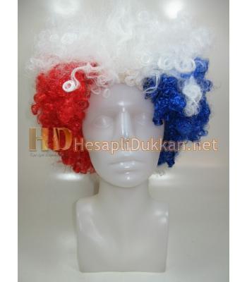 Mavi kırmızı beyaz Bonus peruk R563
