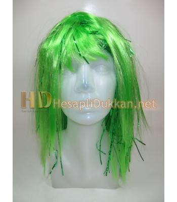 Yarı metalize parti peruk yeşil R564