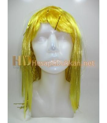 Sarı renk yarı metalize parti peruk R566