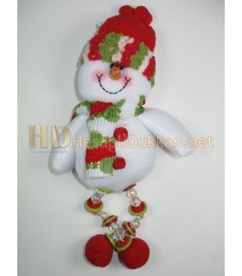 Boncuk ayaklı kardan adam peluş yılbaşı ağacı süsü R674