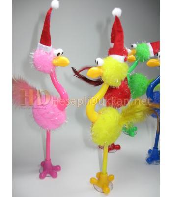 Noel baba şapkalı deve kuşu kalem yılbaşı hediyelik R653