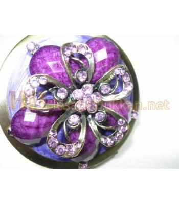 Mor çiçekli makyaj aynası AL126
