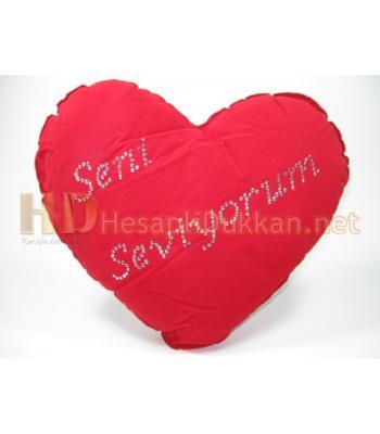 Taşlı kalp sevgililer günü yastığı AL124