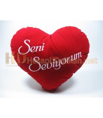 Seni seviyorum yazılı süet sevgililer günü yastığı AL123