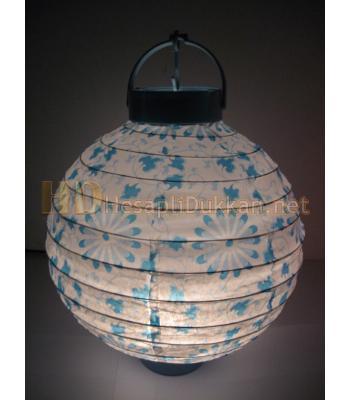 Işıklı pilli kağıt fenerler - Mavi AL136