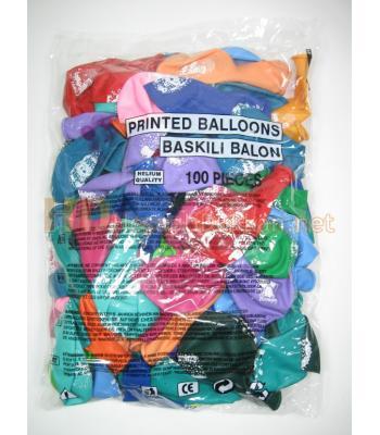 Karışık renk happy birthday baskılı balon AL145