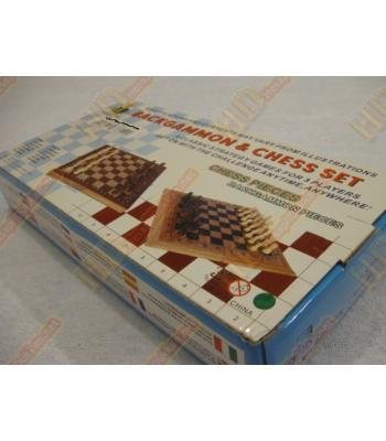 Bambu portatif satranç ve tavla takımı R183