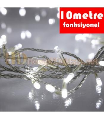 10 metre şeffaf kablo beyaz renk fonksiyonel yılbaşı led ışığı R634