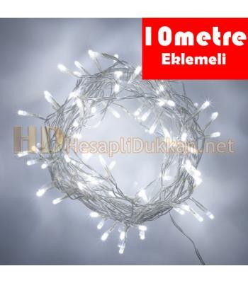10 metre eklemeli şeffaf kablo beyaz led yılbaşı ışığı R636
