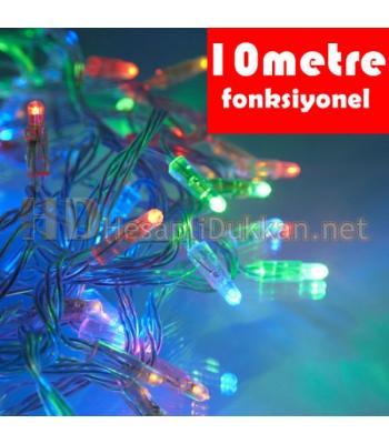 10 metre şeffaf kablo karışık renk led fonksiyonel yılbaşı ışığı R635