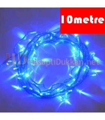 10 metre şeffaf kablo mavi led yılbaşı ışığı R638