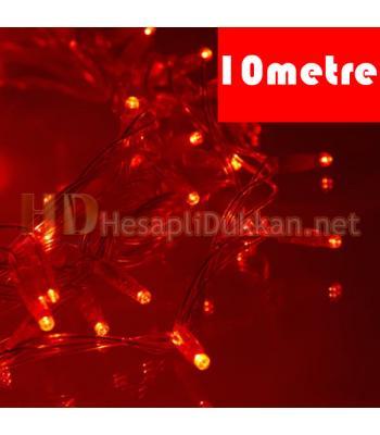 10 metre şeffaf kablo kırmızı led yılbaşı ışığı R639