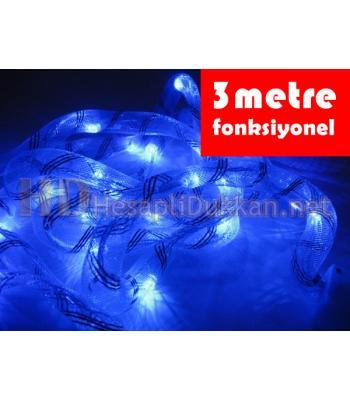 3 metre mavi ışıklı kumaş hortum yılbaşı ışığı R644