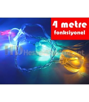 4 metre kalp şeklinde şeffaf kablo karışık renk led yılbaşı ışığı R642