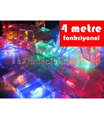 4 metre küp şeklinde şeffaf kablo karışık renk led yılbaşı ışığı R641